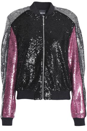 JUST CAVALLI Sequined color-block woven bomber jacket