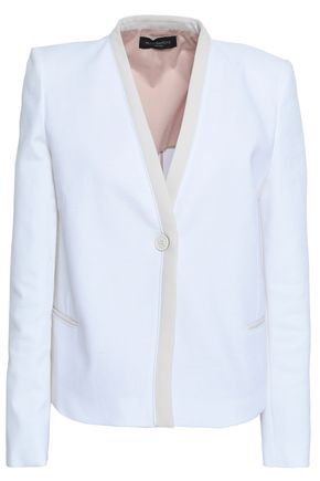 PIAZZA SEMPIONE Two-tone cotton-blend crepe cardigan