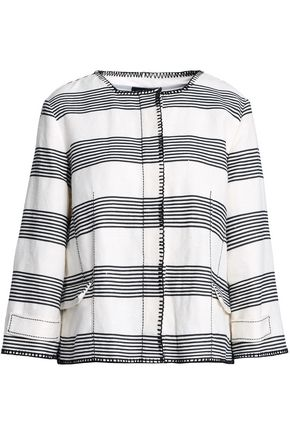 PIAZZA SEMPIONE Striped linen and cotton-blend jacket