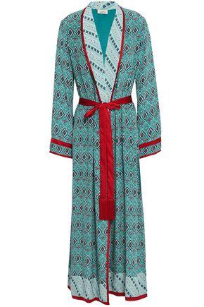 TALITHA Satin-trimmed printed silk crepe de chine kimono