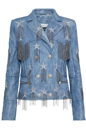 BALMAIN Chain-embellished metallic embroidered leather biker jacket