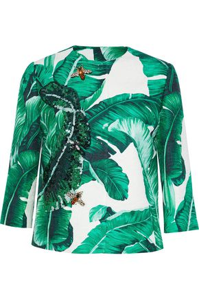DOLCE & GABBANA Embellished printed cotton and silk-blend jacquard jacket
