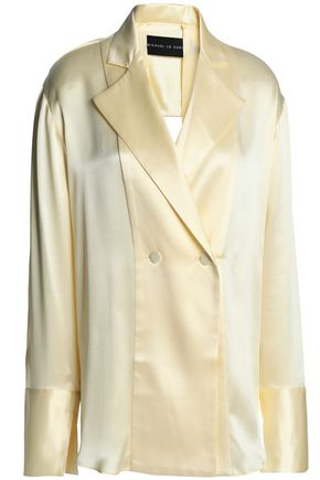 MICHAEL LO SORDO Double-breasted ring-embellished silk-satin jacket