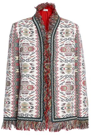 TALITHA Fringed embellished cotton and silk-blend jacquard jacket