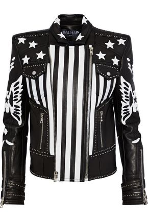 BALMAIN Appliquéd leather biker jacket