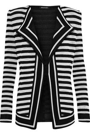 BALMAIN Striped jacquard-knit blazer