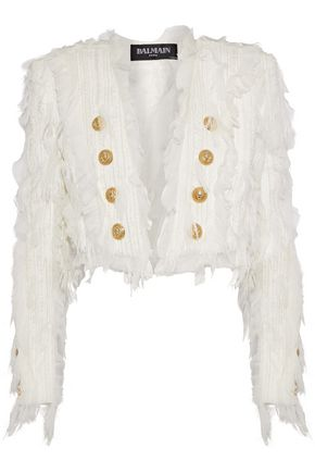 BALMAIN Cropped chiffon-appliquéd tweed jacket
