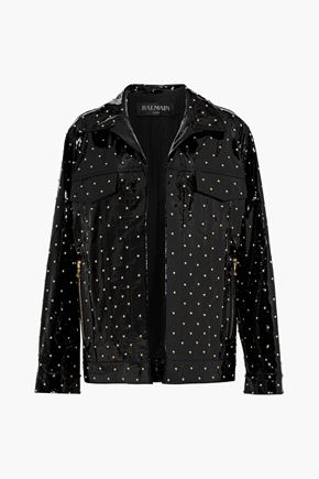 BALMAIN Studded patent-leather jacket