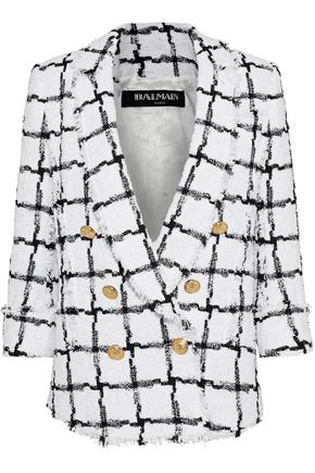 BALMAIN Double-breasted checked bouclé-tweed blazer
