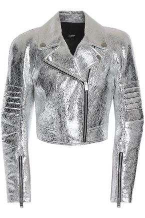VERSUS VERSACE Metallic cracked-leather biker jacket