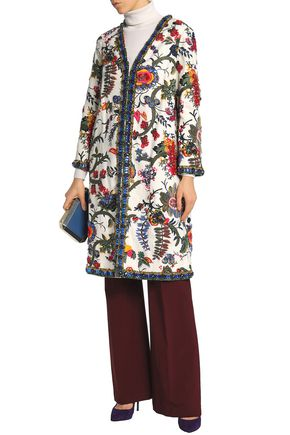 TORY BURCH Embellished embroidered printed linen jacket