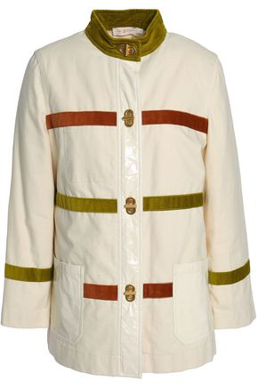 TORY BURCH Corduroy-paneled cotton-canvas jacket