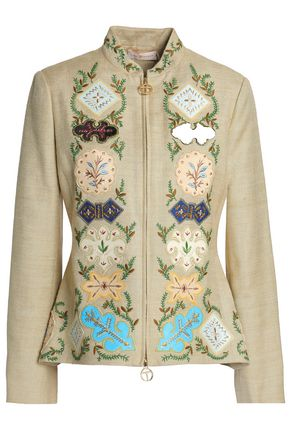 TORY BURCH Appliquéd embroidered silk-canvas peplum jacket