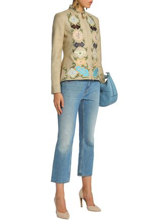 TORY BURCH Appliquéd embroidered silk-canvas peplum jacket