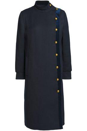 TORY BURCH Velvet-trimmed gabardine coat
