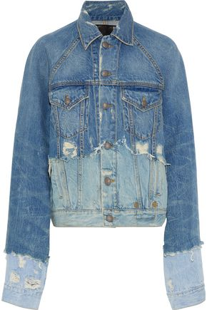 R13 Oversized paneled distressed denim jacket