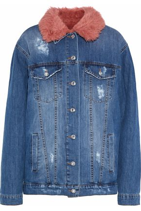 AINEA Faux shearling-lined distressed denim jacket
