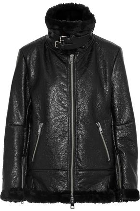 AINEA Coated faux shearling biker jacket
