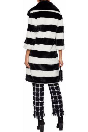 AINEA Striped faux fur coat