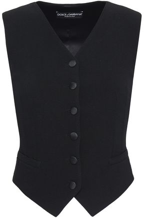 DOLCE & GABBANA Paneled wool-blend and satin vest