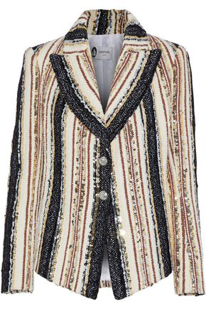LANVIN Striped sequin-embellished woven blazer
