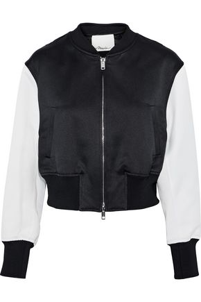 3.1 PHILLIP LIM Romantic cropped cady-paneled satin-jacquard bomber jacket