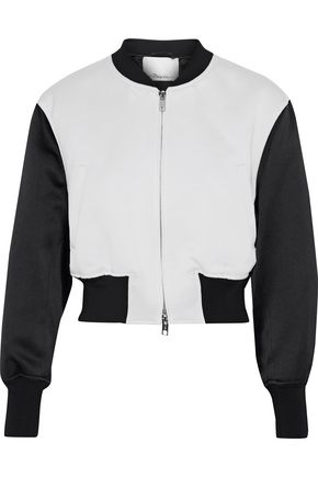 3.1 PHILLIP LIM Romantic cropped satin-paneled jacquard bomber jacket