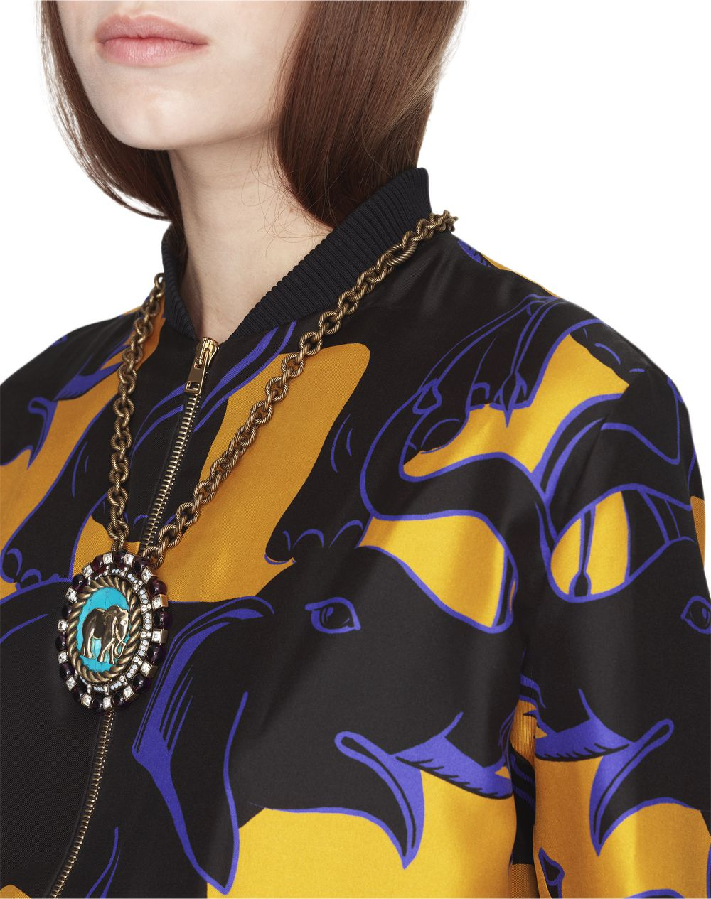 ELEPHANT PRINT SILK TEDDY JACKET - Lanvin