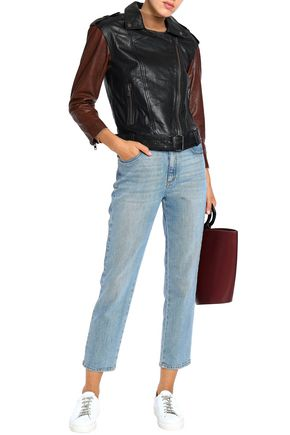 MUUBAA Two-tone leather biker jacket