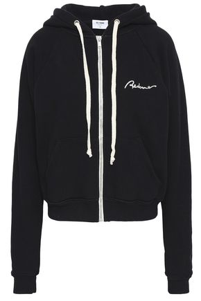 RE/DONE Embroidered French cotton-terry hoodie