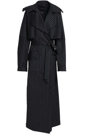 MICHAEL LO SORDO Pinstriped wool trench coat