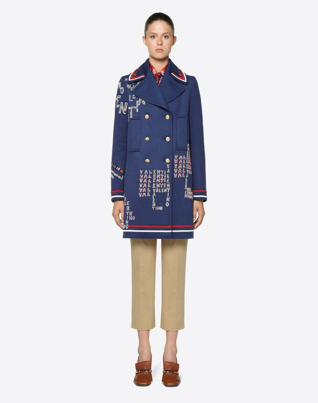 Valentino Chevron and Valentino Puzzle Embroidered Light Double Drap Coat