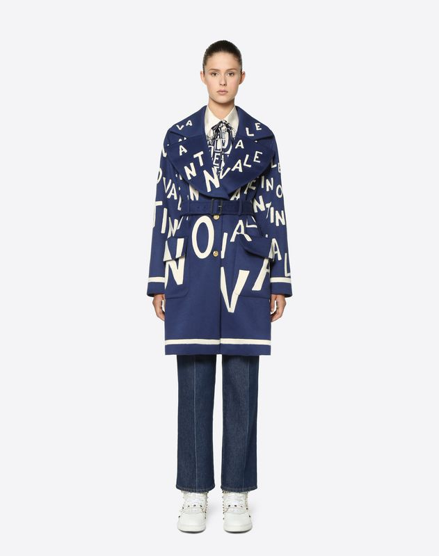 Embroidered Valentino Chevron Light Double Drap Coat