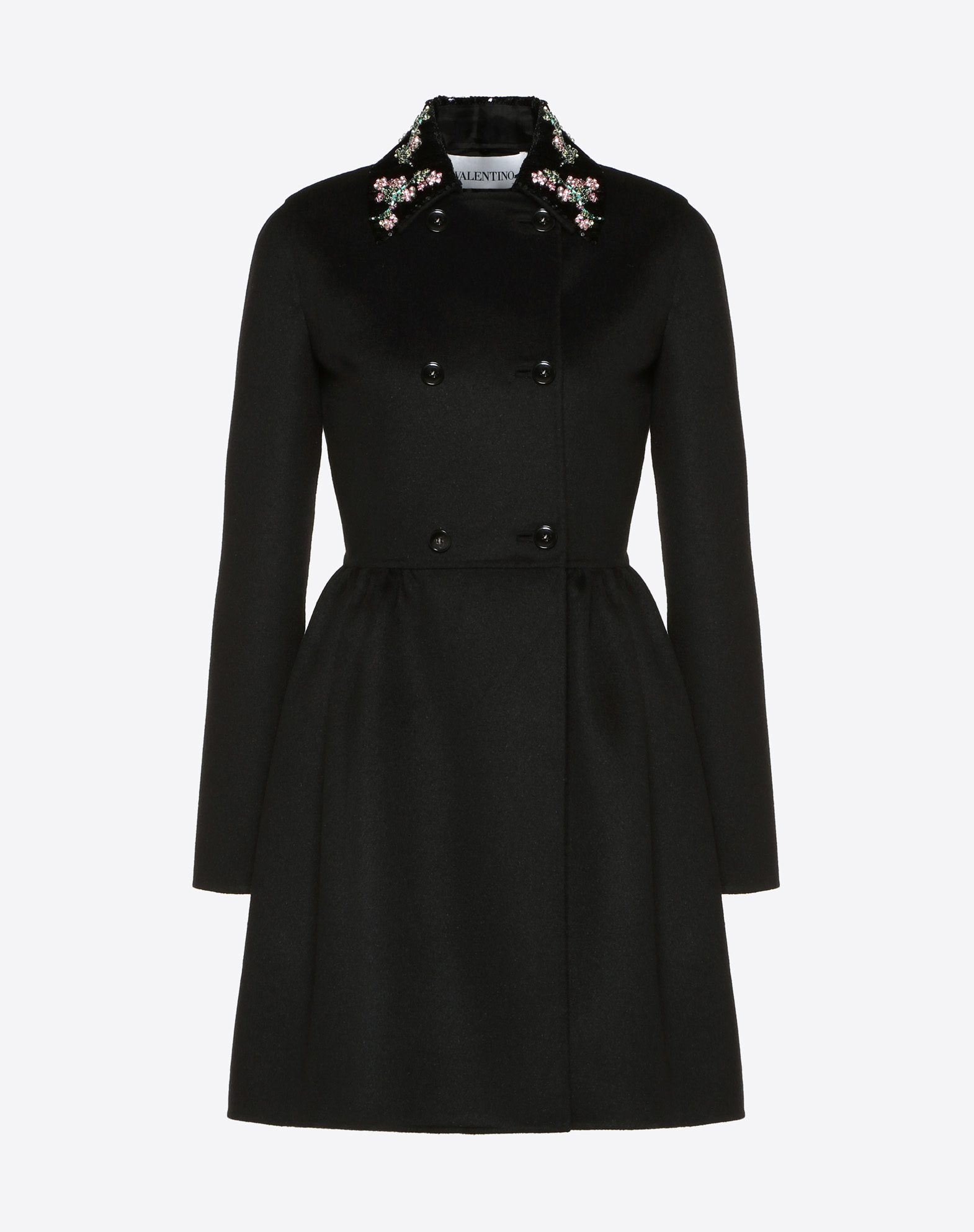 Embroidered Light Double Drap Coat