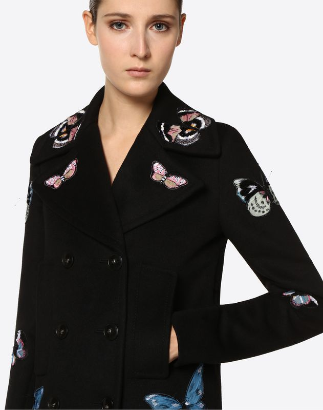 Cappotto in Light Double Drap ricamato Butterflies