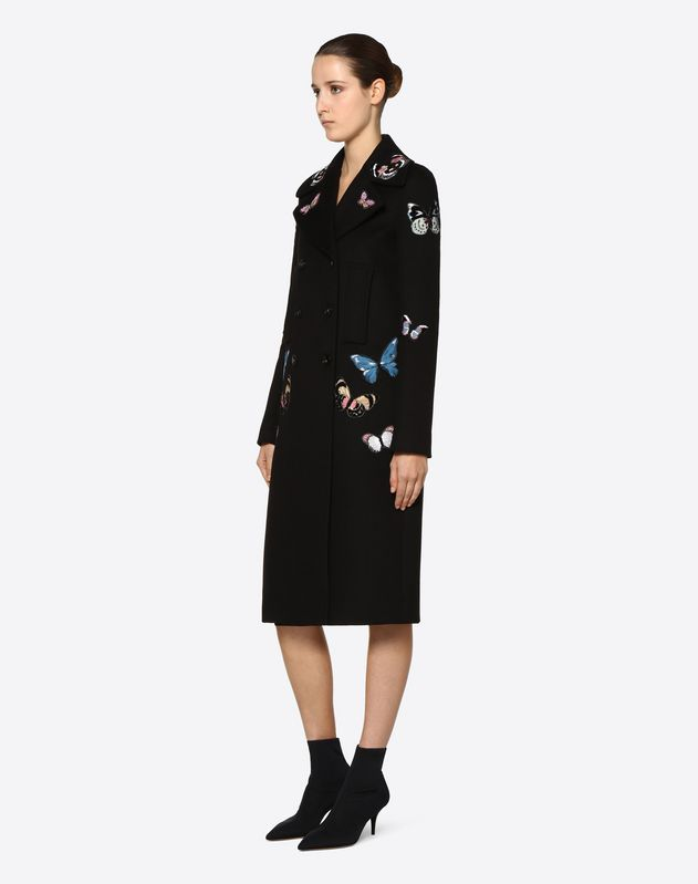 Light Double Drap Coat With Embroidered Butterflies