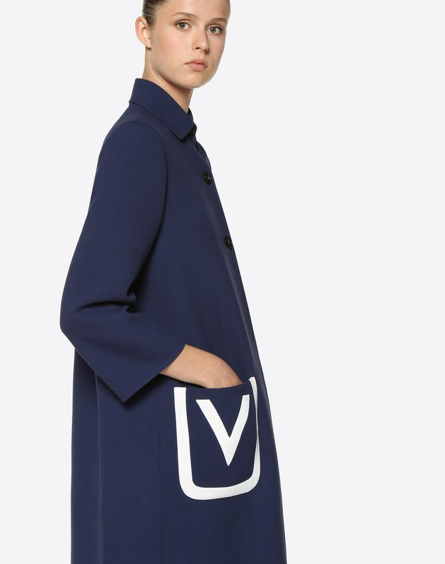 Double Crêpe Wool Coat with Embroidered V Logo