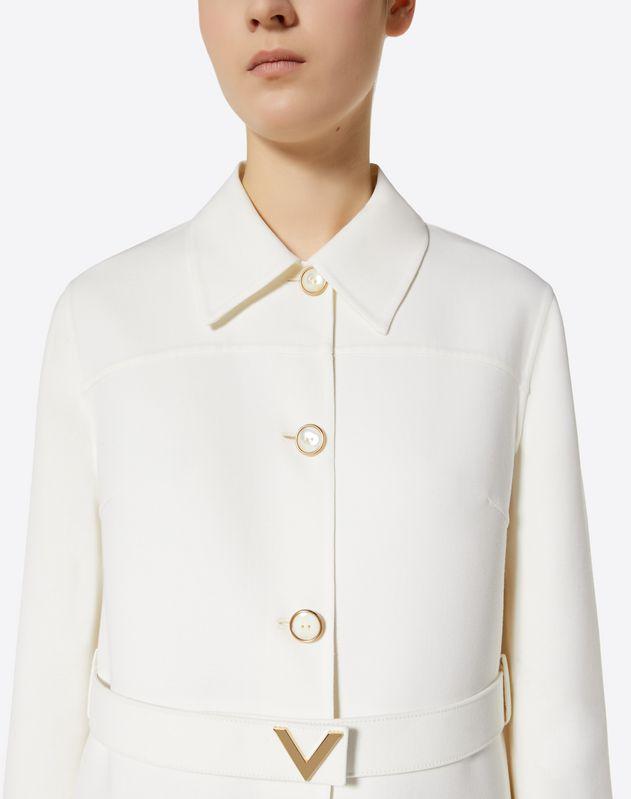 Cappotto in Double Crepe Wool con cintura V gold