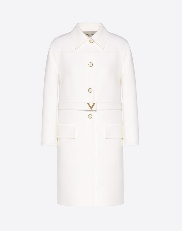 Double Crêpe Wool Coat with Gold V Belt