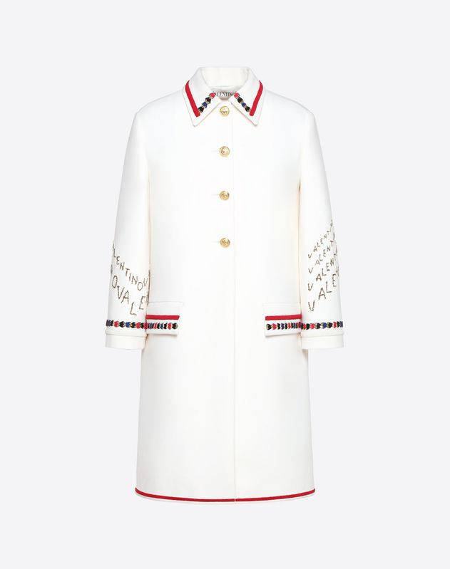 Embroidered Double Crêpe Wool Coat