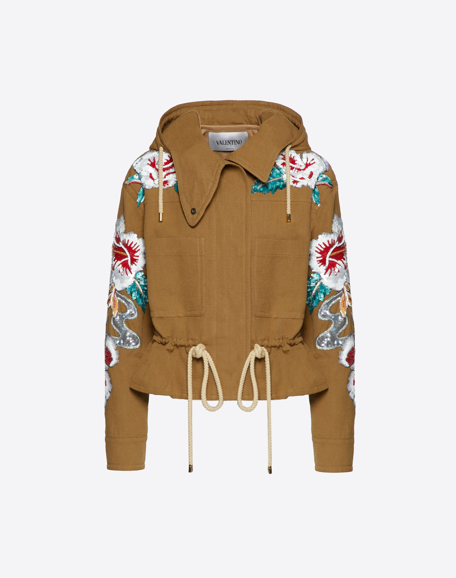 Embroidered Hawaiian Hibiscus Malfilé Cotton Jacket