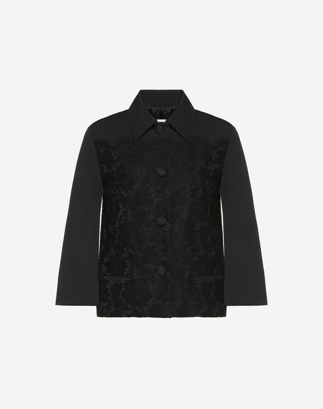 Fluid Faille and Heavy Lace Jacket