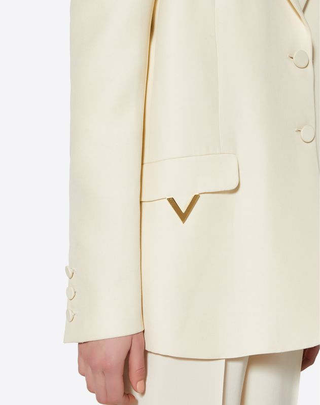 Silk Wool Cady Blazer with Gold V Details