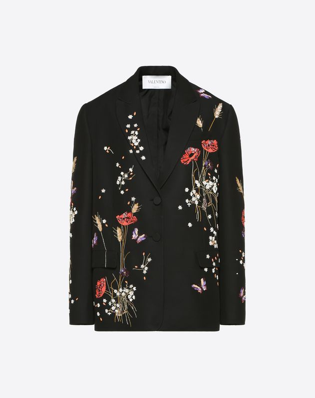 Silk Wool Cady Blazer with Flowery Meadow Embroidery