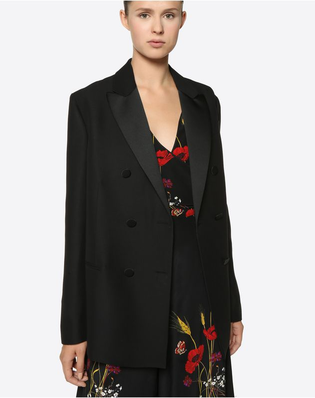 Silk Wool Cady and Satin Blazer