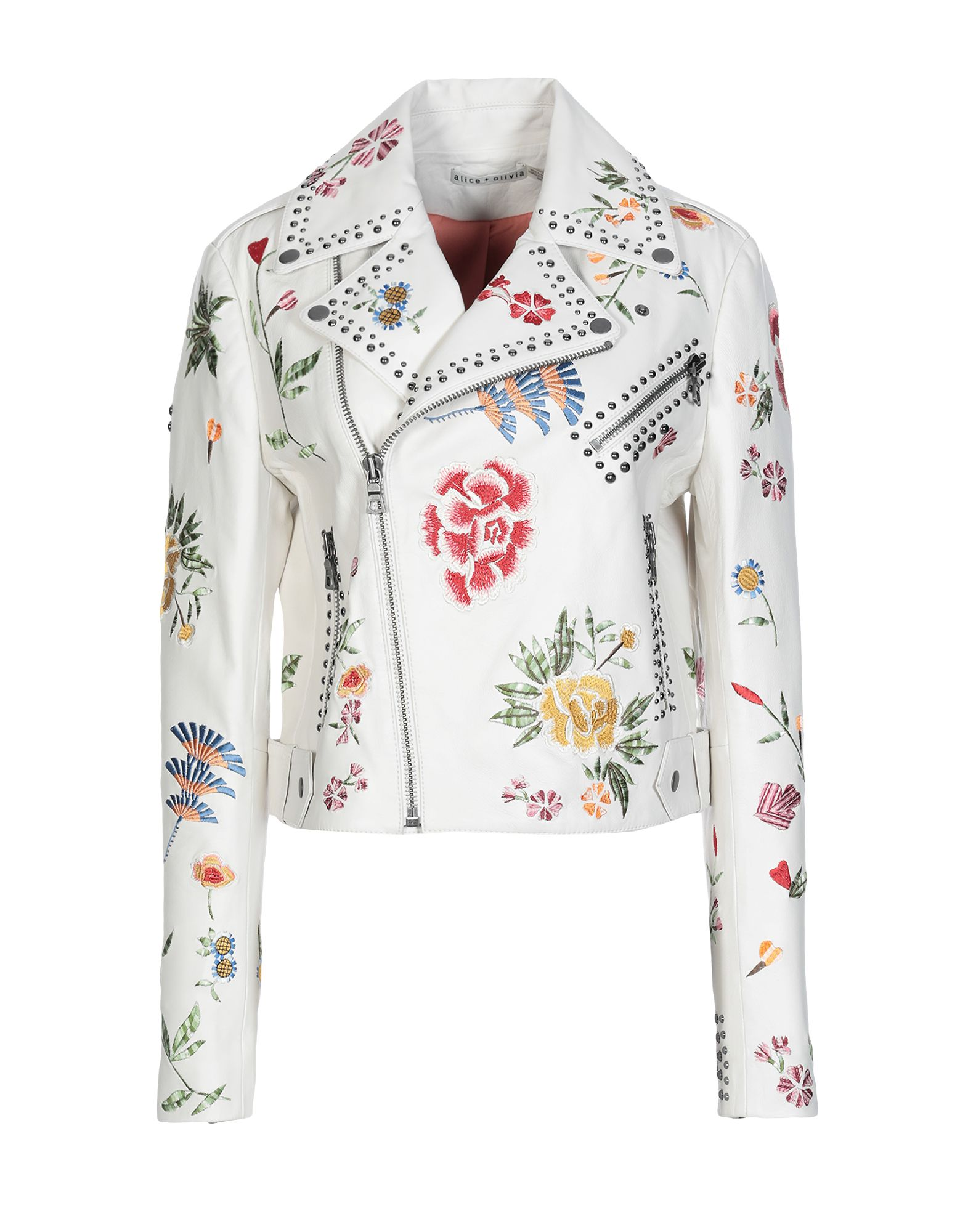 ALICE + OLIVIA Jackets. leather, metal applications, embroidered detailing, floral design, single-breasted, zip, lapel collar, multipockets, long sleeves, zipped cuffs, fully lined, contains non-textile parts of animal origin, biker style, large sized. 100% Lambskin