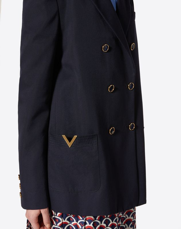 Wool Gabardine Blazer with Gold V Details