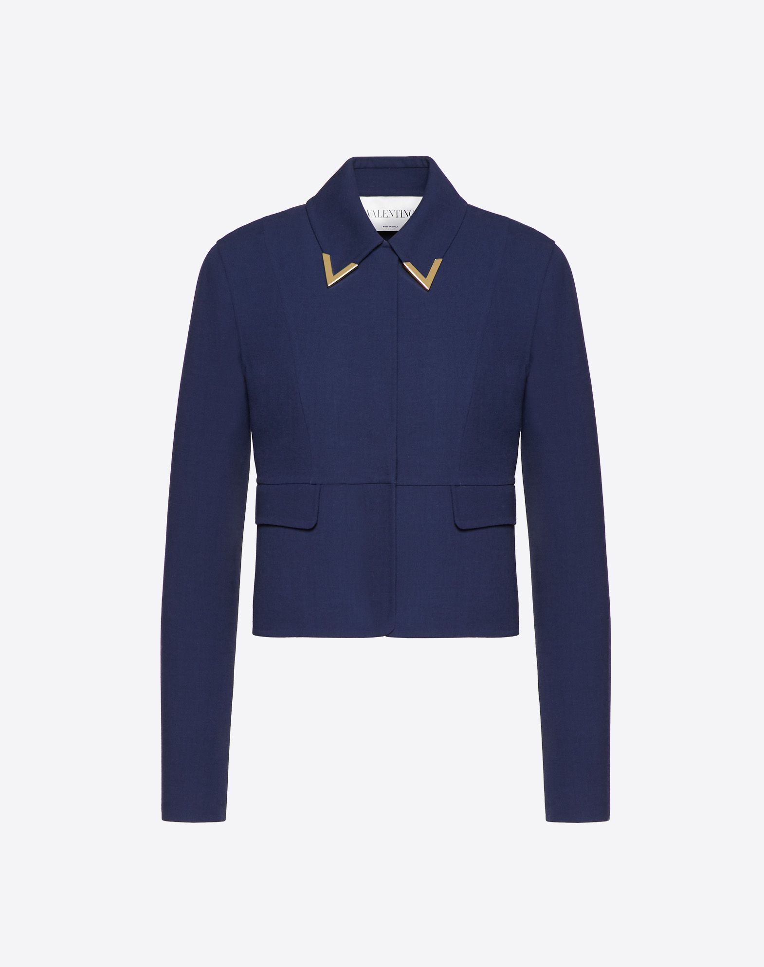Double Crêpe Wool Jacket with Gold V Detail