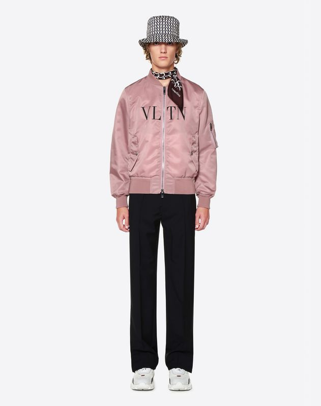 Куртка-бомбер из нейлон-диагонали с мотивом VLTN