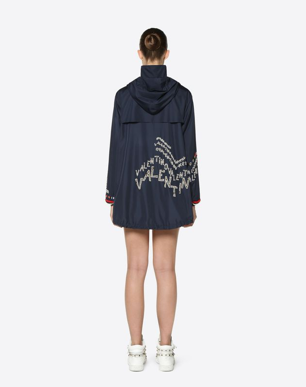 Embroidered Nylon Poplin Peacoat